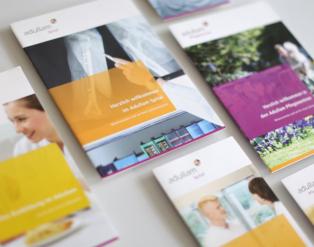 Diverse Flyer und Broschüren für Adullam Spital und Pflegezentren - scanu communications